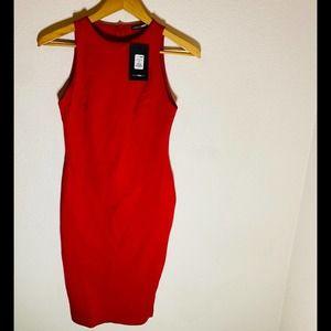 -Fashion Nova Melinda MIDI Dress Red Size: L
